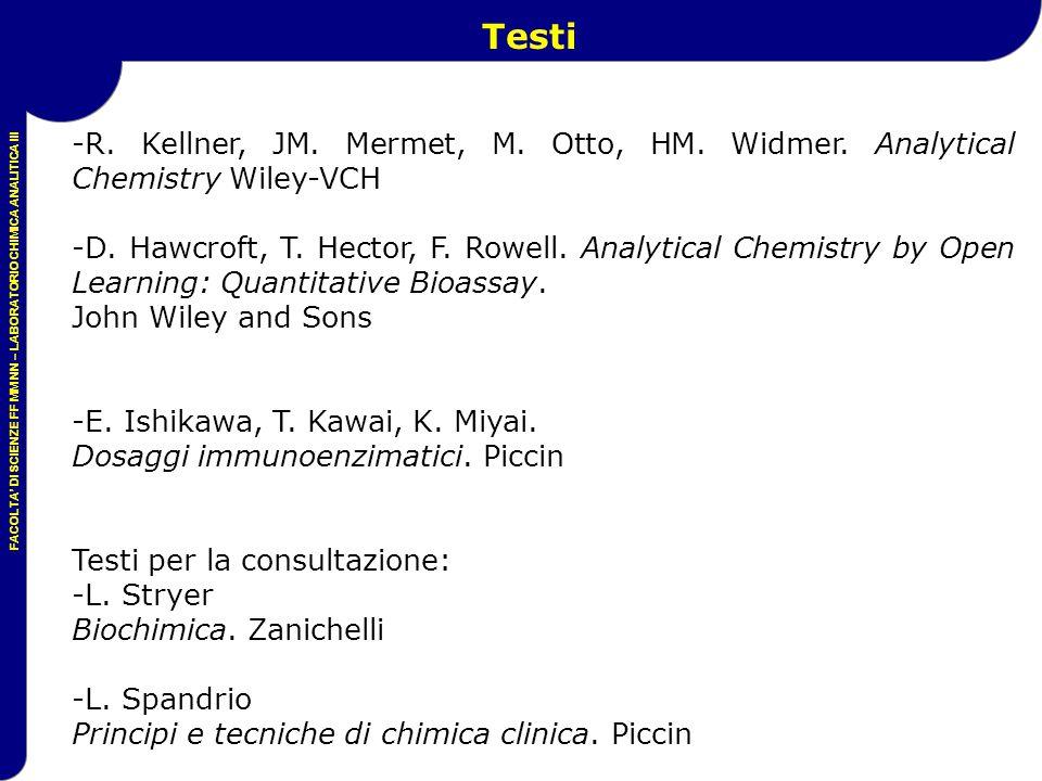 FACOLTA' DI SCIENZE FF MM NN – LABORATORIO CHIMICA ANALITICA III -R. Kellner, JM. Mermet, M. Otto, HM. Widmer. Analytical Chemistry Wiley-VCH -D. Hawc