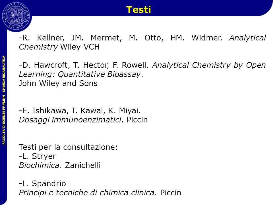 FACOLTA' DI SCIENZE FF MM NN – CHIMICA BIOANALITICA -R. Kellner, JM. Mermet, M. Otto, HM. Widmer. Analytical Chemistry Wiley-VCH -D. Hawcroft, T. Hect