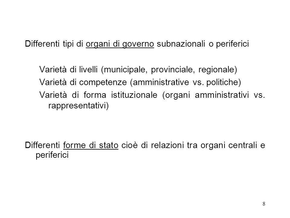 8 Differenti tipi di organi di governo subnazionali o periferici Varietà di livelli (municipale, provinciale, regionale) Varietà di competenze (amministrative vs.