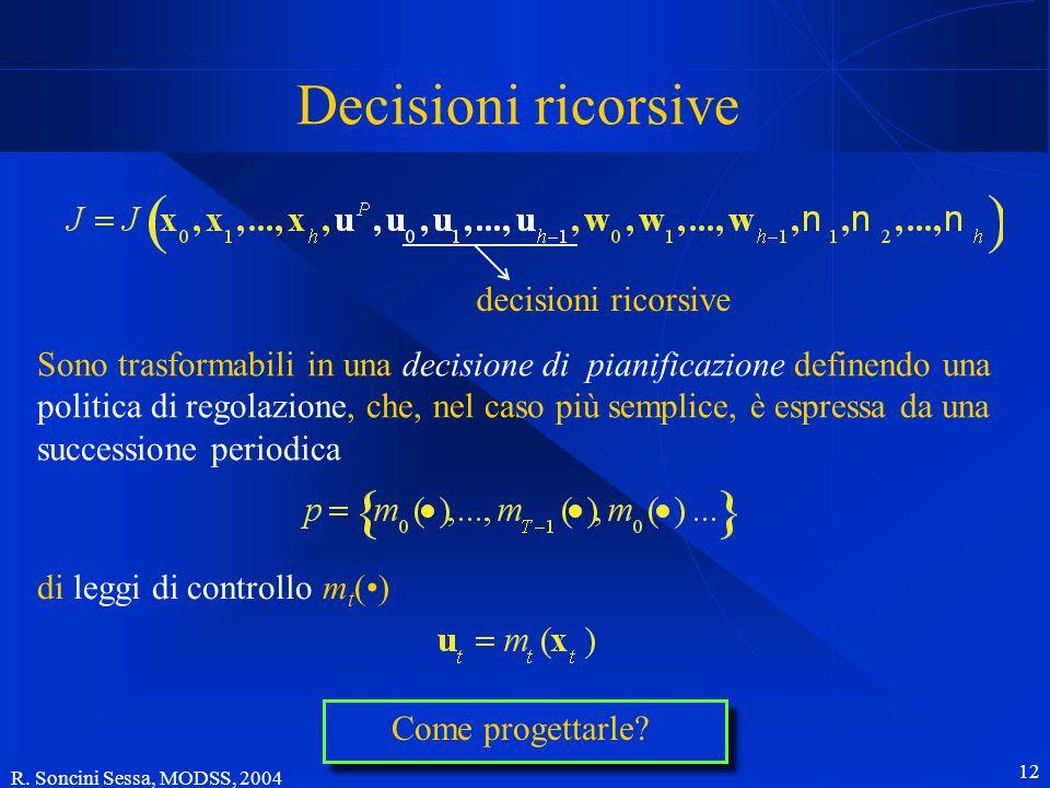 R. Soncini Sessa, MODSS, 2004 12 Decisioni ricorsive decisioni ricorsive Sono trasformabili in una decisione di pianificazione definendo una politica