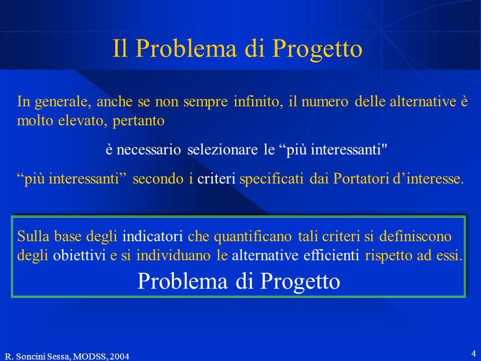 R. Soncini Sessa, MODSS, 2004 4 Problema di Progetto Il Problema di Progetto In generale, anche se non sempre infinito, il numero delle alternative è