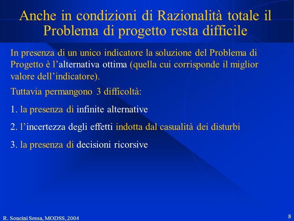 R. Soncini Sessa, MODSS, 2004 8 Anche in condizioni di Razionalità totale il Problema di progetto resta difficile In presenza di un unico indicatore l
