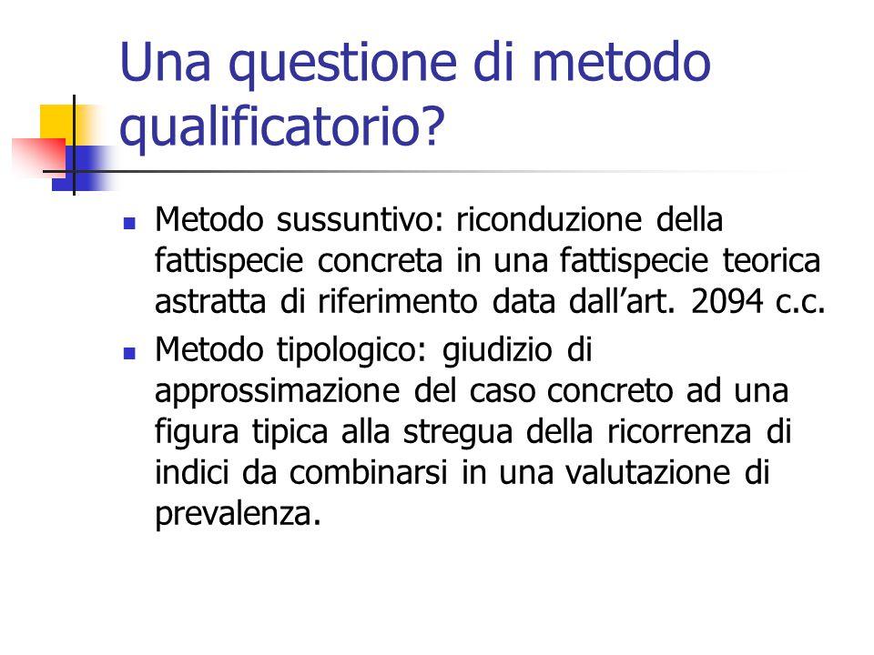 Una questione di metodo qualificatorio? Metodo sussuntivo: riconduzione della fattispecie concreta in una fattispecie teorica astratta di riferimento