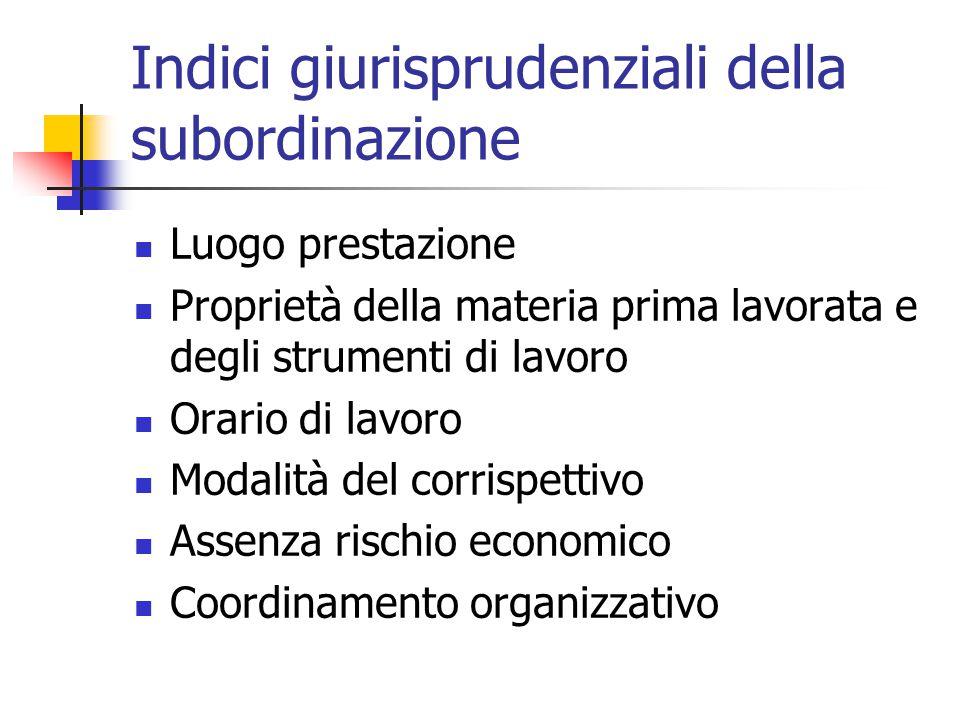 Indici giurisprudenziali della subordinazione Luogo prestazione Proprietà della materia prima lavorata e degli strumenti di lavoro Orario di lavoro Mo