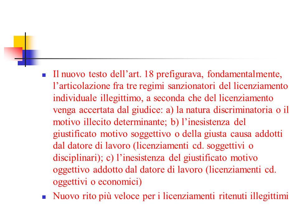 Il nuovo testo dell'art. 18 prefigurava, fondamentalmente, l'articolazione fra tre regimi sanzionatori del licenziamento individuale illegittimo, a se