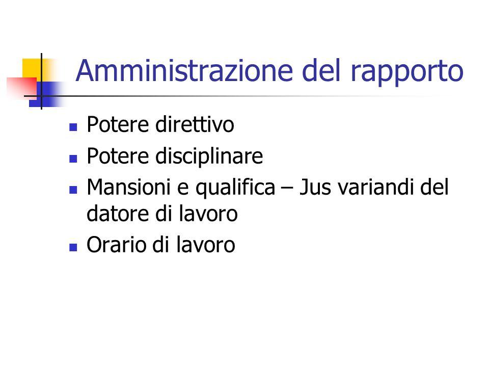 Amministrazione del rapporto Potere direttivo Potere disciplinare Mansioni e qualifica – Jus variandi del datore di lavoro Orario di lavoro