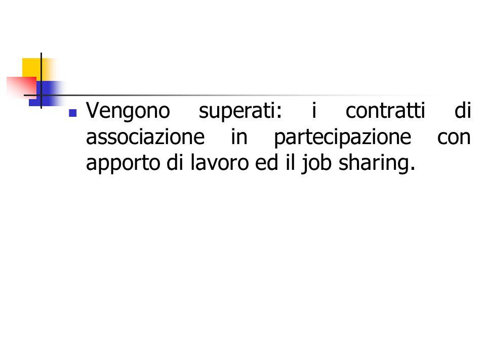 Vengono superati: i contratti di associazione in partecipazione con apporto di lavoro ed il job sharing.