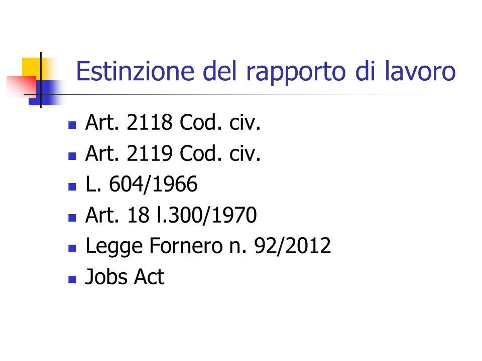 Estinzione del rapporto di lavoro Art. 2118 Cod. civ. Art. 2119 Cod. civ. L. 604/1966 Art. 18 l.300/1970 Legge Fornero n. 92/2012 Jobs Act