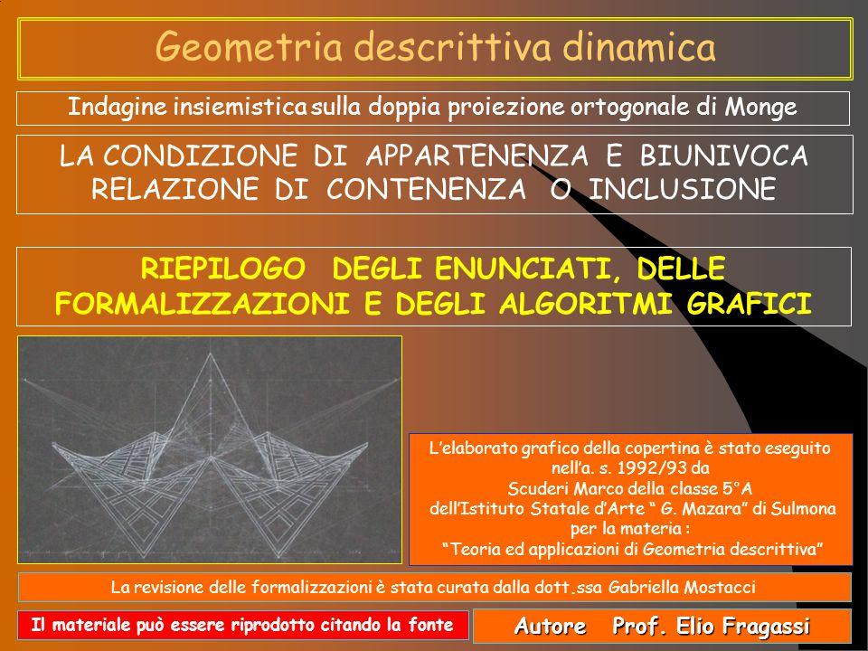 Geometria descrittiva dinamica Ricapitolando possiamo così raggruppare ed enunciare le specifiche definizioni di appartenenza e quelle reciproche della contenenza o inclusione tra: Punto e retta Definizioni esplicative Se le proiezioni di un punto appartengono alle rispettive omonime proiezioni di una retta; allora, e solo allora, si può asserire che il punto appartiene alla retta.