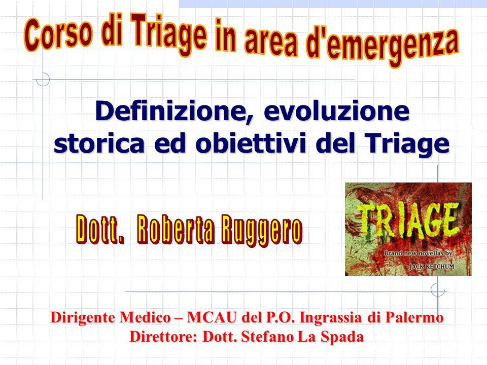 Definizione, evoluzione storica ed obiettivi del Triage Dirigente Medico – MCAU del P.O. Ingrassia di Palermo Direttore: Dott. Stefano La Spada