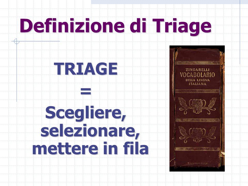 Definizione di Triage TRIAGE= Scegliere, selezionare, mettere in fila