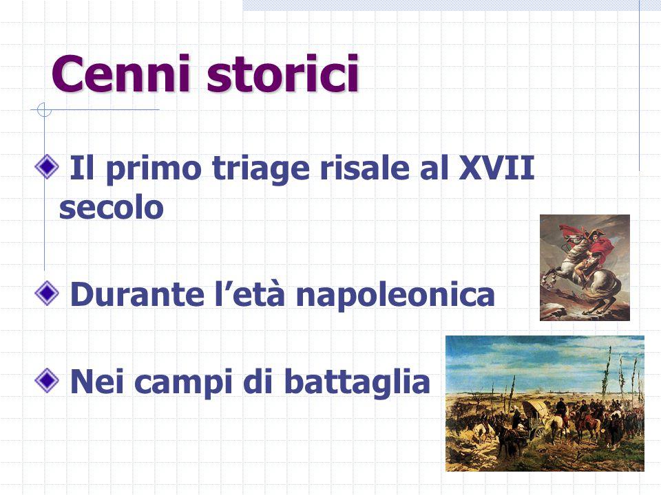 Cenni storici Il primo triage risale al XVII secolo Durante l'età napoleonica Nei campi di battaglia