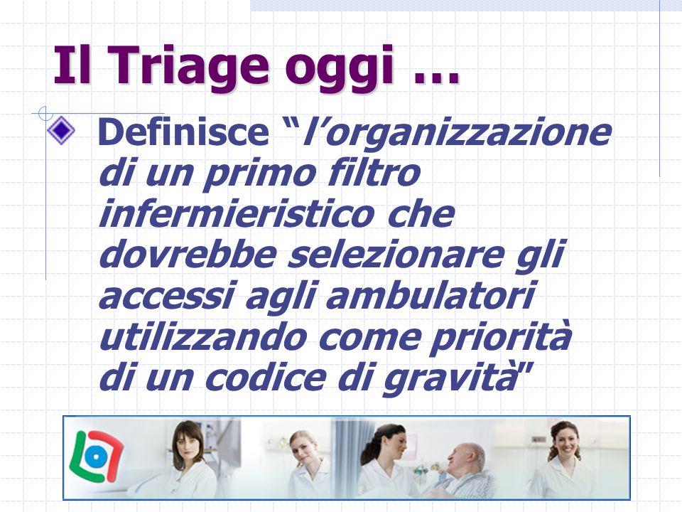 """Il Triage oggi … Definisce """"l'organizzazione di un primo filtro infermieristico che dovrebbe selezionare gli accessi agli ambulatori utilizzando come"""