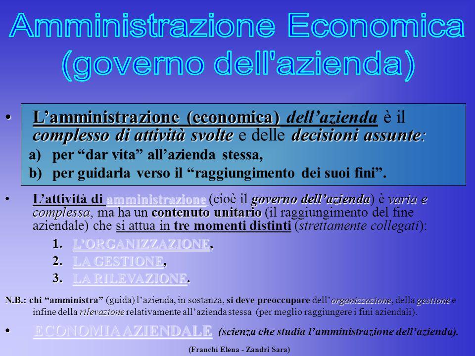 (Franchi Elena - Zandri Sara) L'amministrazioneL'amministrazione (economica) (economica) dell'azienda è il complesso di attività svolte svolte e delle decisioni assunte: a)per dar vita all'azienda stessa, b)per guidarla verso il raggiungimento dei suoi fini .
