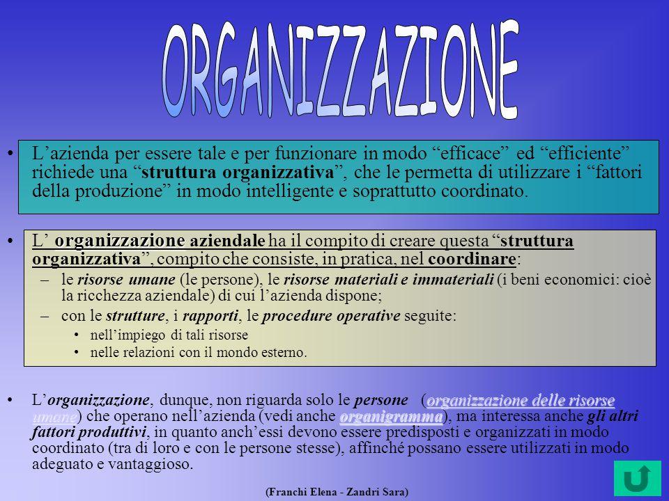 (Franchi Elena - Zandri Sara) L'azienda per essere tale e per funzionare in modo efficace ed efficiente richiede una struttura organizzativa , che le permetta di utilizzare i fattori della produzione in modo intelligente e soprattutto coordinato.