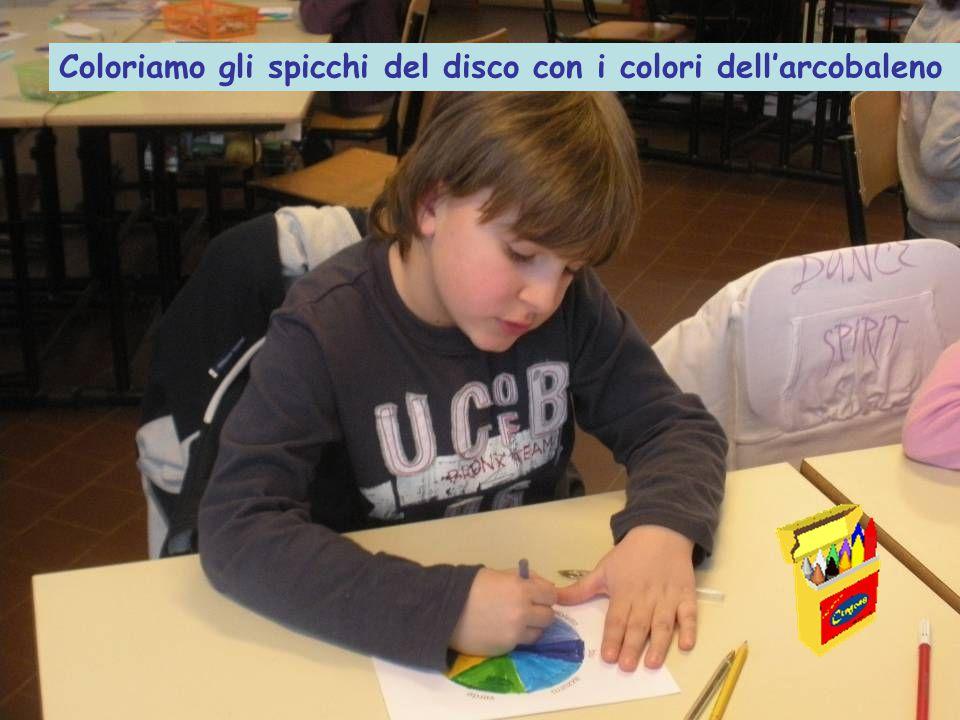 Coloriamo gli spicchi del disco con i colori dell'arcobaleno