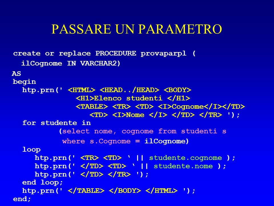 PASSARE UN PARAMETRO create or replace PROCEDURE provaparpl ( ilCognome IN VARCHAR2) AS begin htp.prn(' Elenco studenti Cognome Nome '); for studente