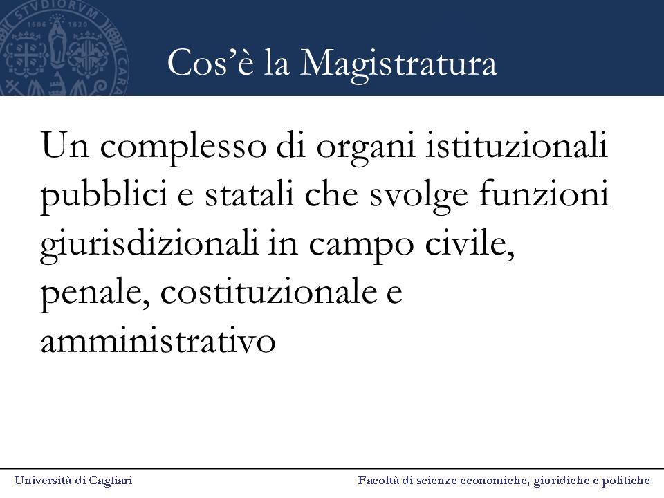Cos'è la Magistratura Un complesso di organi istituzionali pubblici e statali che svolge funzioni giurisdizionali in campo civile, penale, costituzionale e amministrativo