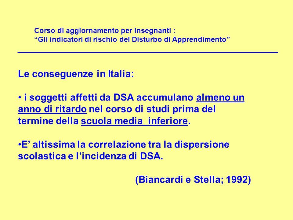 """Corso di aggiornamento per insegnanti : """"Gli indicatori di rischio del Disturbo di Apprendimento"""" Le conseguenze in Italia: i soggetti affetti da DSA"""