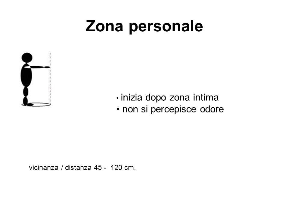 Zona personale inizia dopo zona intima non si percepisce odore vicinanza / distanza 45 - 120 cm.