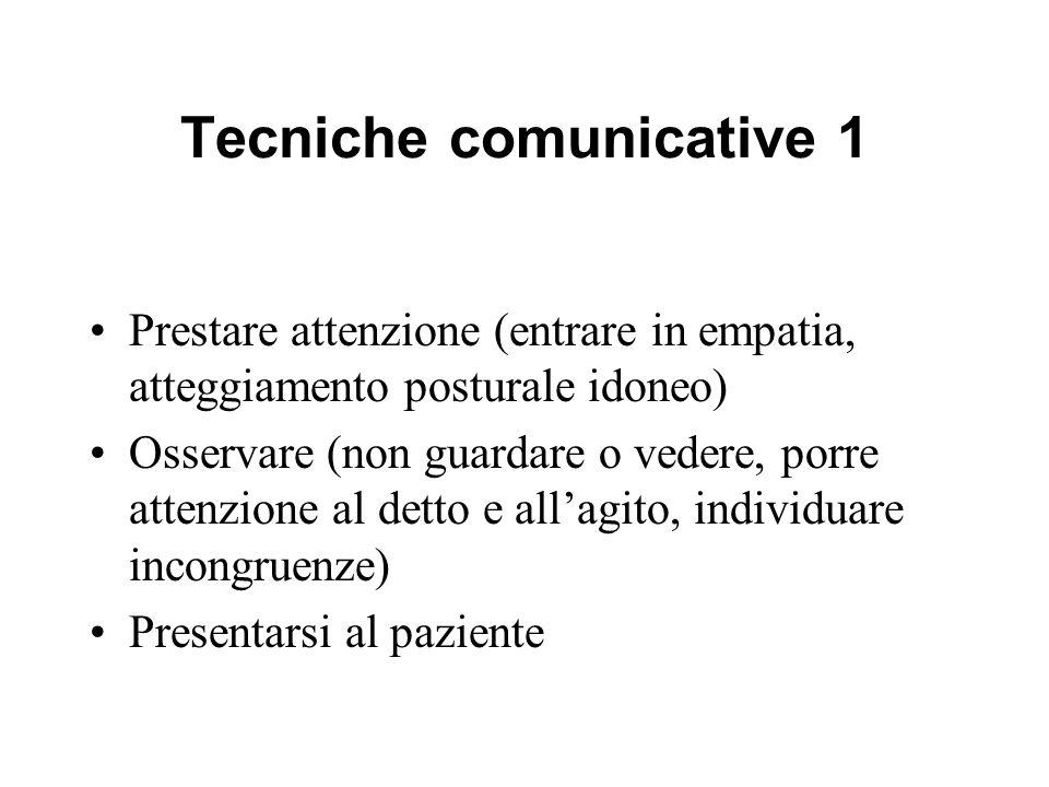 Tecniche comunicative 1 Prestare attenzione (entrare in empatia, atteggiamento posturale idoneo) Osservare (non guardare o vedere, porre attenzione al