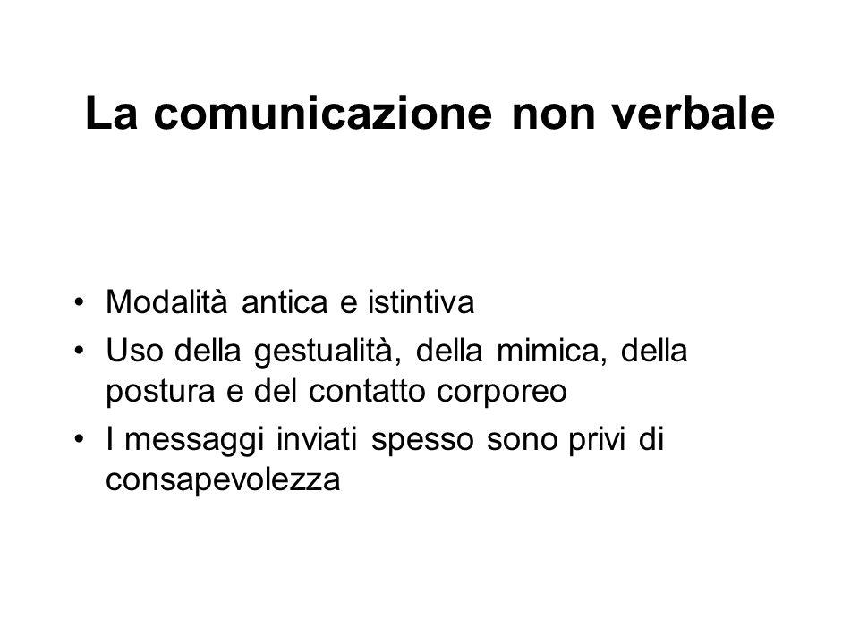La comunicazione non verbale Modalità antica e istintiva Uso della gestualità, della mimica, della postura e del contatto corporeo I messaggi inviati
