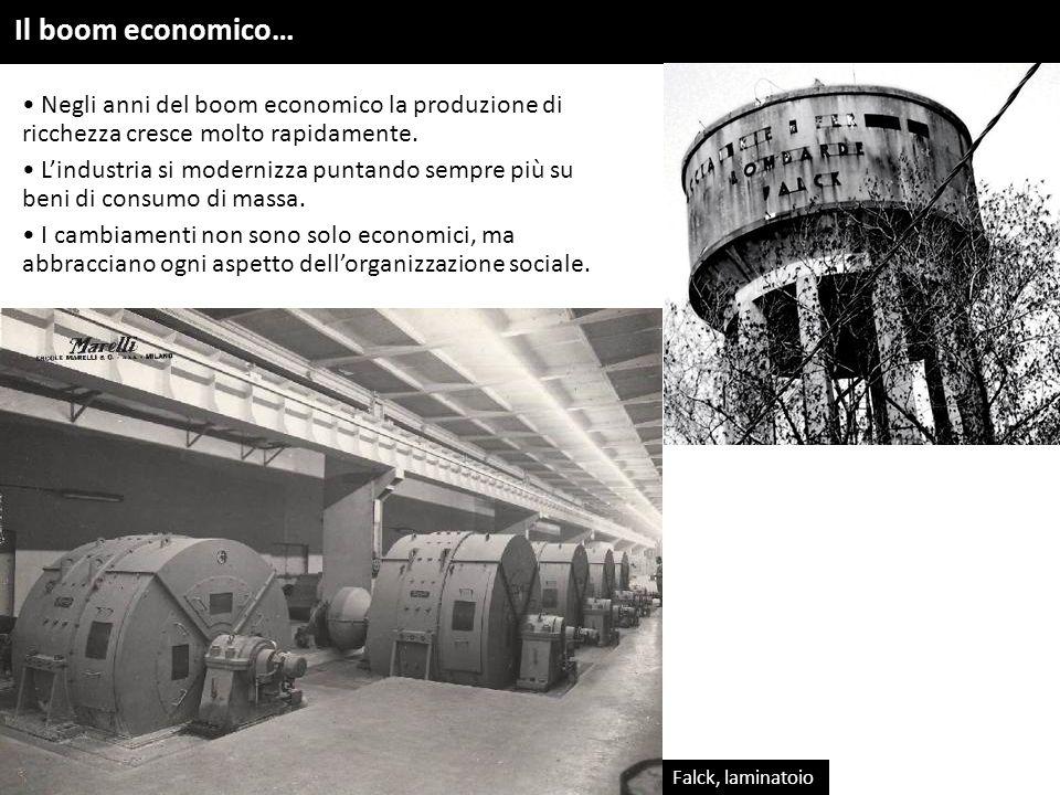 Il boom economico… Falck, laminatoio Negli anni del boom economico la produzione di ricchezza cresce molto rapidamente. L'industria si modernizza punt
