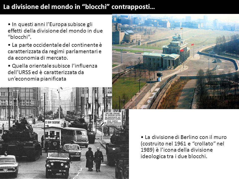 """In questi anni l'Europa subisce gli effetti della divisione del mondo in due """"blocchi"""". La parte occidentale del continente è caratterizzata da regimi"""