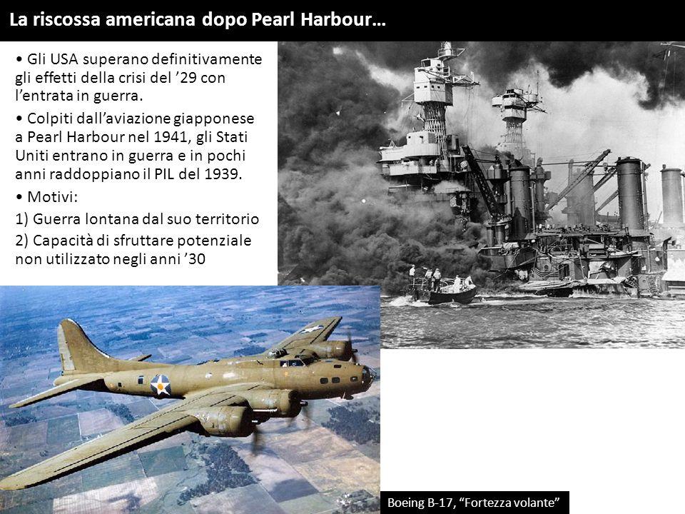 Gli USA superano definitivamente gli effetti della crisi del '29 con l'entrata in guerra. Colpiti dall'aviazione giapponese a Pearl Harbour nel 1941,