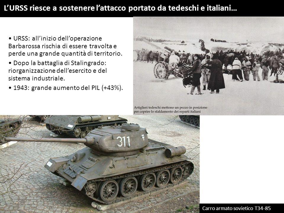 L'URSS riesce a sostenere l'attacco portato da tedeschi e italiani… Carro armato sovietico T34-85 URSS: all'inizio dell'operazione Barbarossa rischia