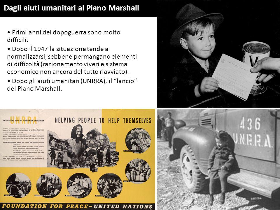 Dagli aiuti umanitari al Piano Marshall Primi anni del dopoguerra sono molto difficili. Dopo il 1947 la situazione tende a normalizzarsi, sebbene perm
