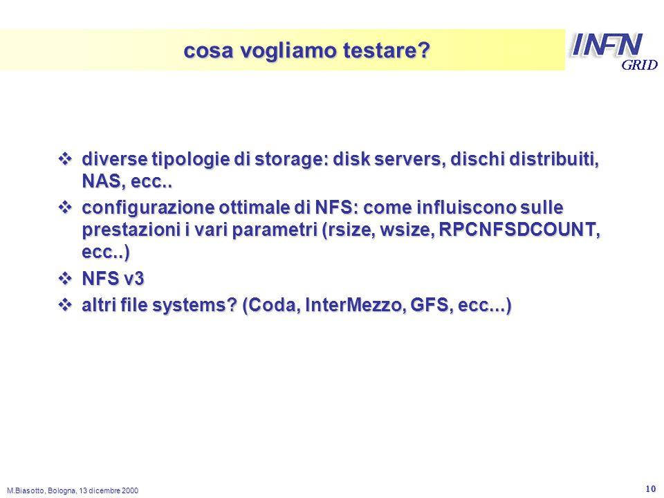 LNL M.Biasotto, Bologna, 13 dicembre 2000 10 cosa vogliamo testare?  diverse tipologie di storage: disk servers, dischi distribuiti, NAS, ecc..  con
