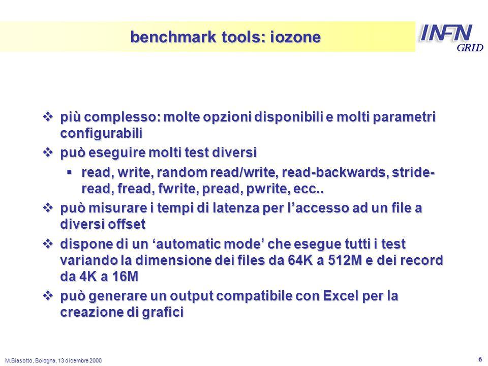 LNL M.Biasotto, Bologna, 13 dicembre 2000 6 benchmark tools: iozone  più complesso: molte opzioni disponibili e molti parametri configurabili  può e