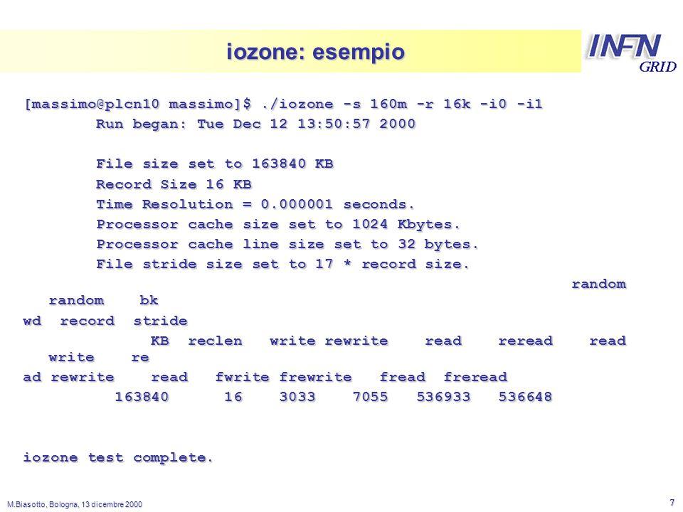 LNL M.Biasotto, Bologna, 13 dicembre 2000 8 iozone: grafico Excel