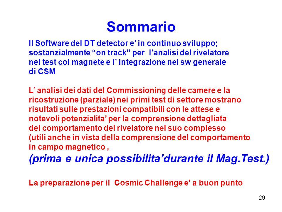 """29 Sommario Il Software del DT detector e' in continuo sviluppo; sostanzialmente """"on track"""" per l'analisi del rivelatore nel test col magnete e l' int"""