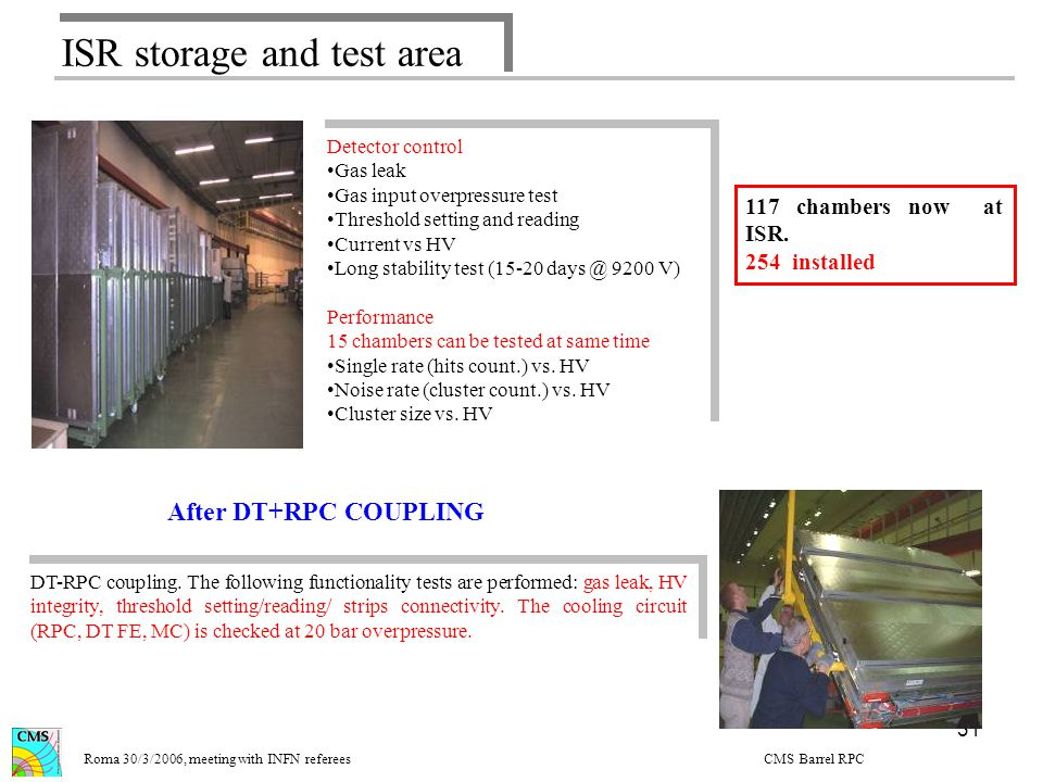 31 ISR storage and test area Long term test/coupling Roma 30/3/2006, meeting with INFN referees CMS Barrel RPC Detector control Gas leak Gas input overpressure test Threshold setting and reading Current vs HV Long stability test (15-20 days @ 9200 V) Performance 15 chambers can be tested at same time Single rate (hits count.) vs.
