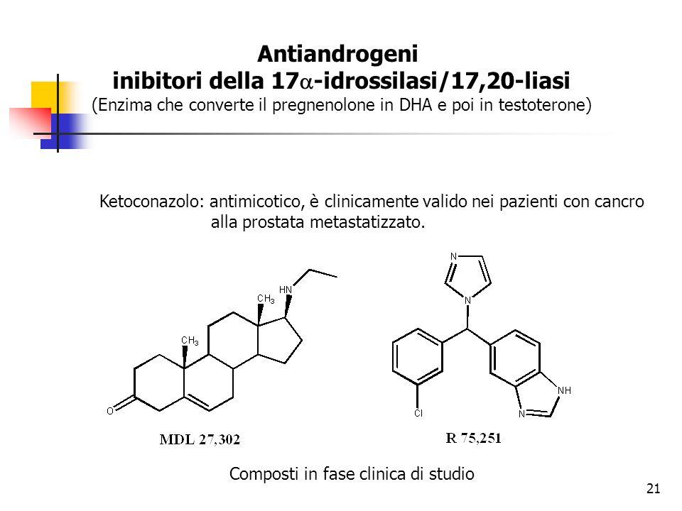 Antiandrogeni inibitori della 17  -idrossilasi/17,20-liasi (Enzima che converte il pregnenolone in DHA e poi in testoterone) Ketoconazolo: antimicoti