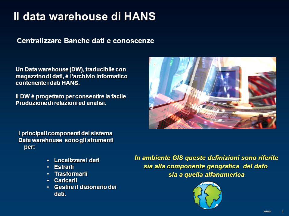 3 Il data warehouse di HANS In ambiente GIS queste definizioni sono riferite sia alla componente geografica del dato sia a quella alfanumerica Un Data