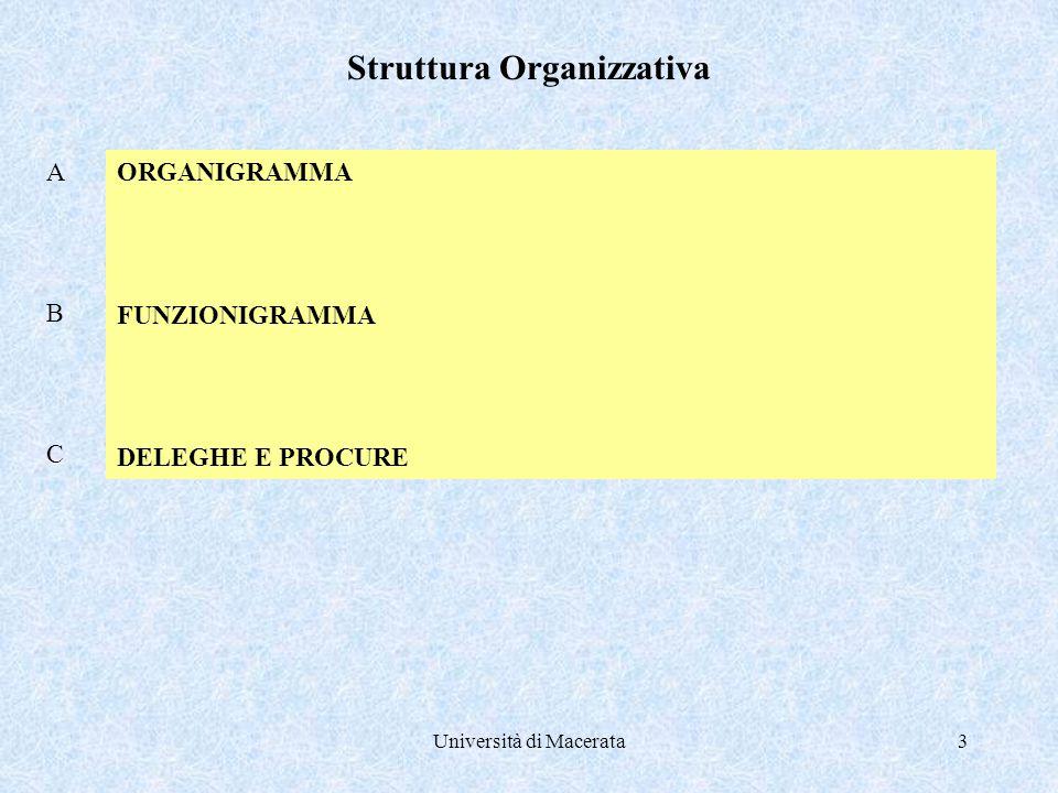 Università di Macerata3 ORGANIGRAMMA FUNZIONIGRAMMA DELEGHE E PROCURE Struttura Organizzativa A B C