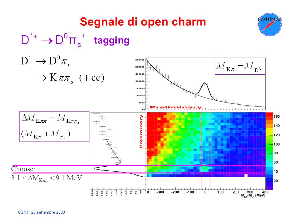 CSN1, 23 settembre 2003 tagging Choose: 3.1 < ΔM Kππ < 9.1 MeV Segnale di open charm