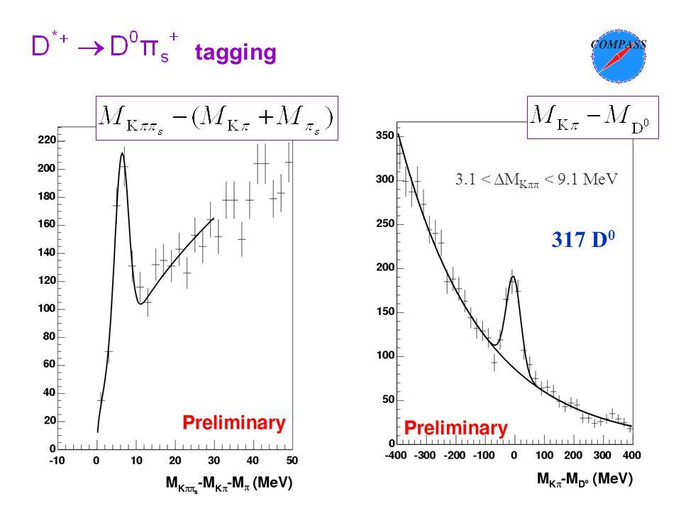 CSN1, 23 settembre 2003 3.1 < ΔM Kππ < 9.1 MeV 317 D 0 tagging