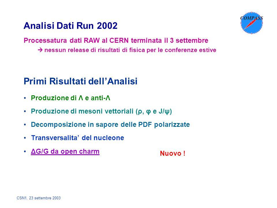 Analisi Dati Run 2002 Produzione di Λ e anti-Λ Produzione di mesoni vettoriali (ρ, φ e J/ψ) Decomposizione in sapore delle PDF polarizzate Transversal