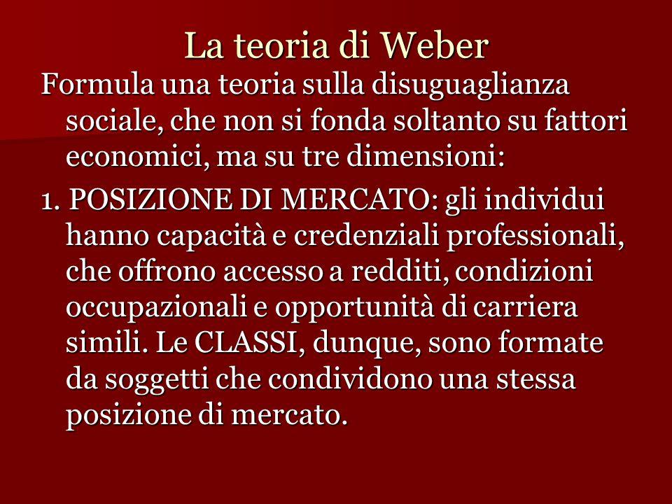 La teoria di Weber Formula una teoria sulla disuguaglianza sociale, che non si fonda soltanto su fattori economici, ma su tre dimensioni: 1. POSIZIONE