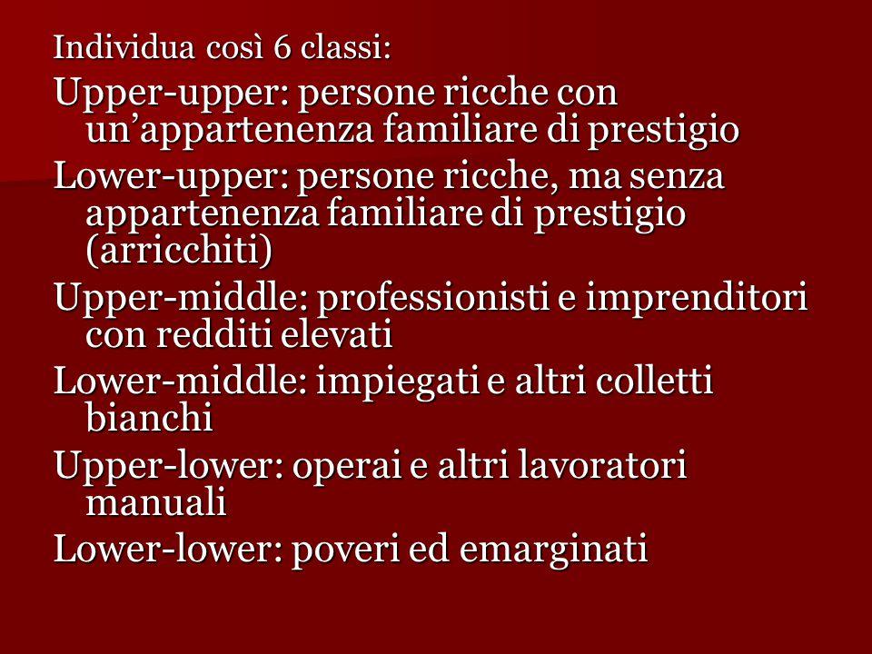 Individua così 6 classi: Upper-upper: persone ricche con un'appartenenza familiare di prestigio Lower-upper: persone ricche, ma senza appartenenza fam