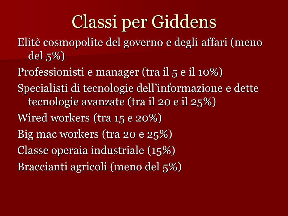 Classi per Giddens Elitè cosmopolite del governo e degli affari (meno del 5%)  Professionisti e manager (tra il 5 e il 10%)  Specialisti di tecnolog