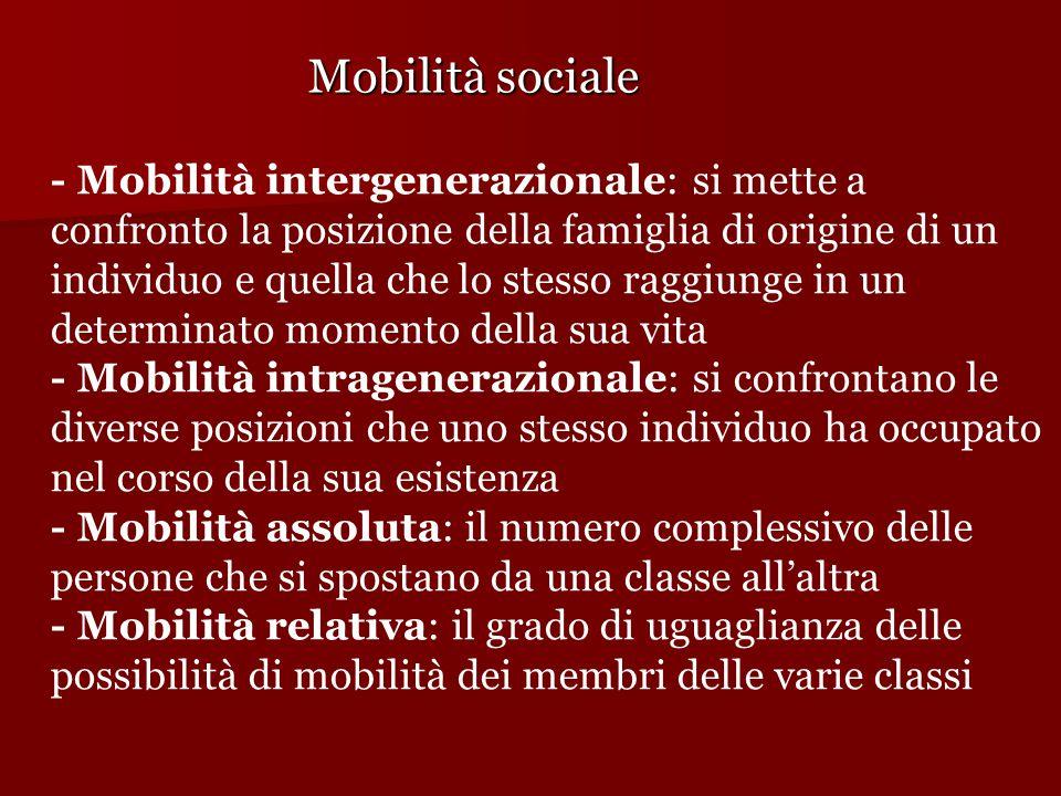 Mobilità sociale - Mobilità intergenerazionale: si mette a confronto la posizione della famiglia di origine di un individuo e quella che lo stesso rag
