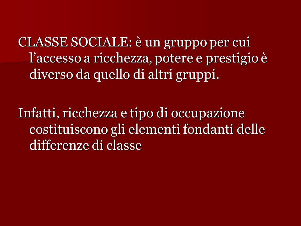 CLASSE SOCIALE: è un gruppo per cui l'accesso a ricchezza, potere e prestigio è diverso da quello di altri gruppi. Infatti, ricchezza e tipo di occupa