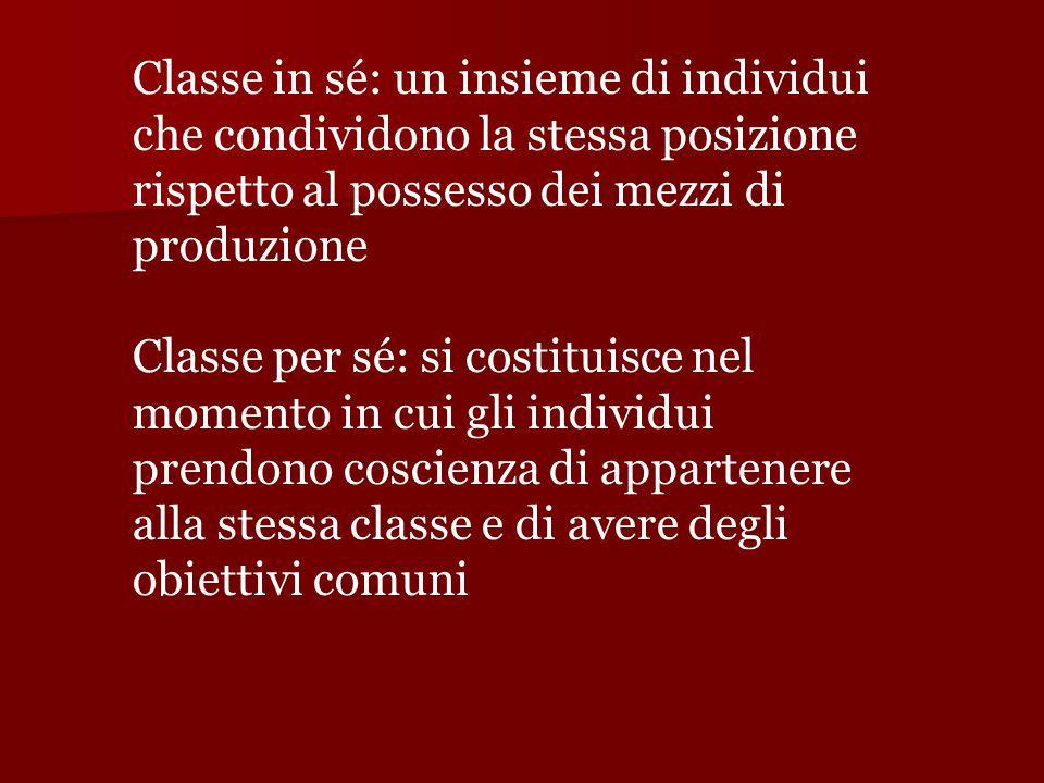 Classe in sé: un insieme di individui che condividono la stessa posizione rispetto al possesso dei mezzi di produzione Classe per sé: si costituisce n