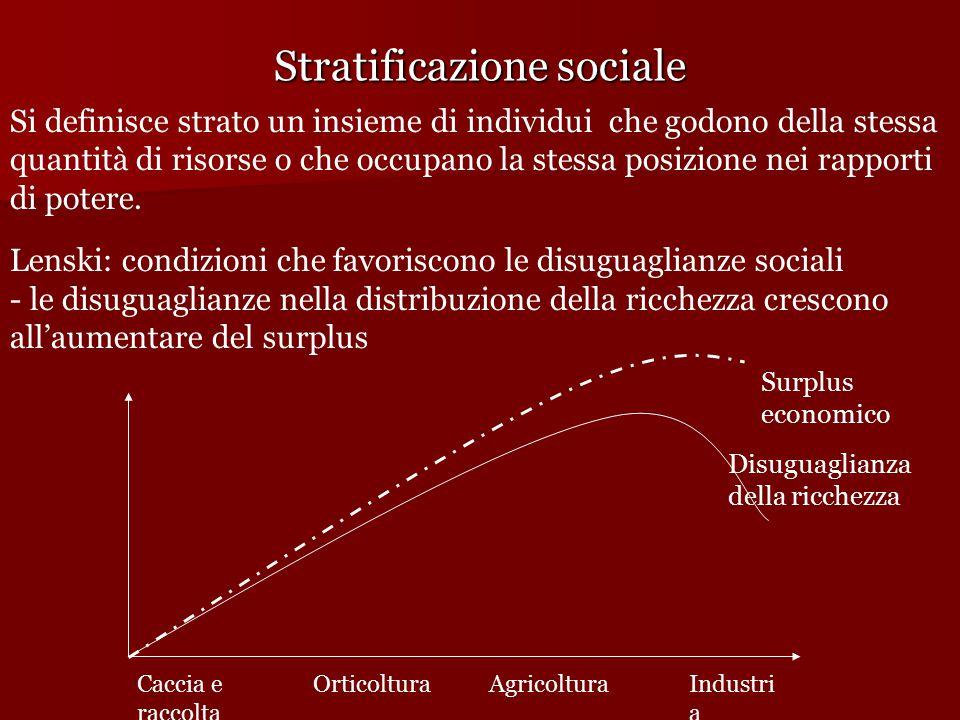 Stratificazione sociale Si definisce strato un insieme di individui che godono della stessa quantità di risorse o che occupano la stessa posizione nei