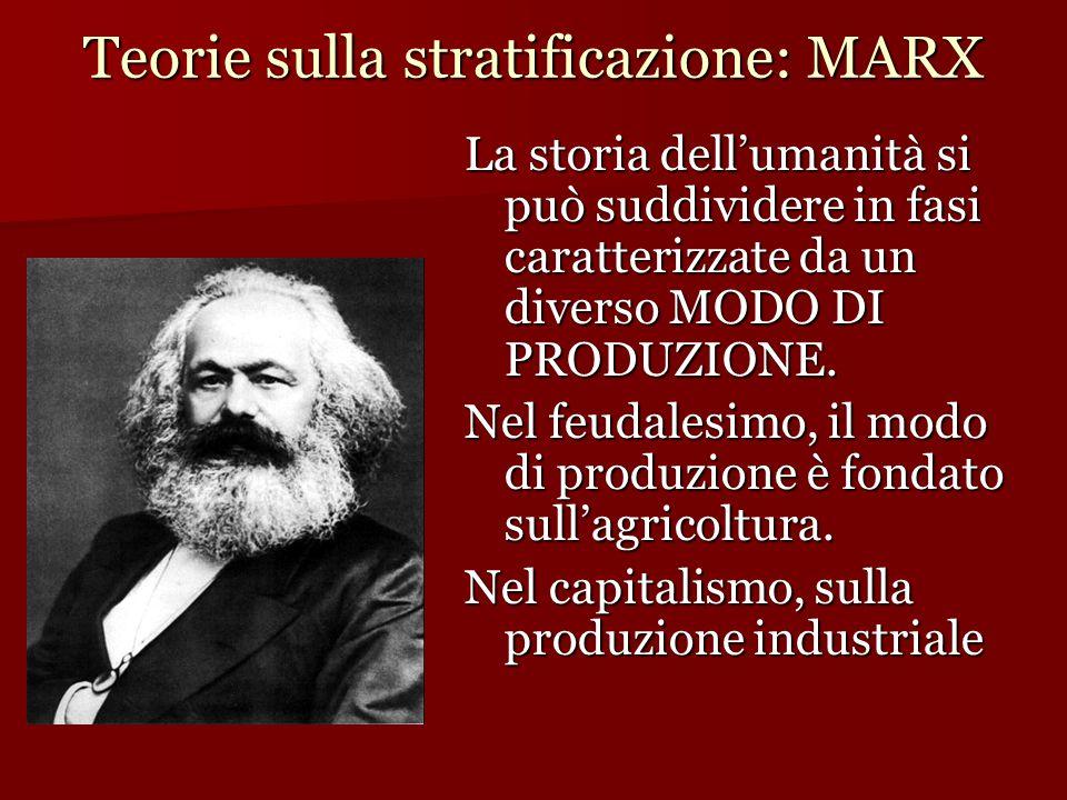 Teorie sulla stratificazione: MARX La storia dell'umanità si può suddividere in fasi caratterizzate da un diverso MODO DI PRODUZIONE. Nel feudalesimo,